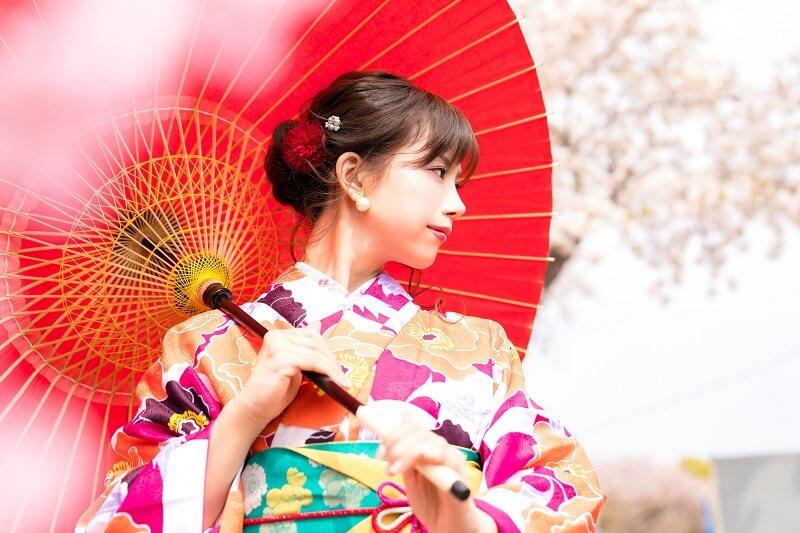 着物と日傘の女性